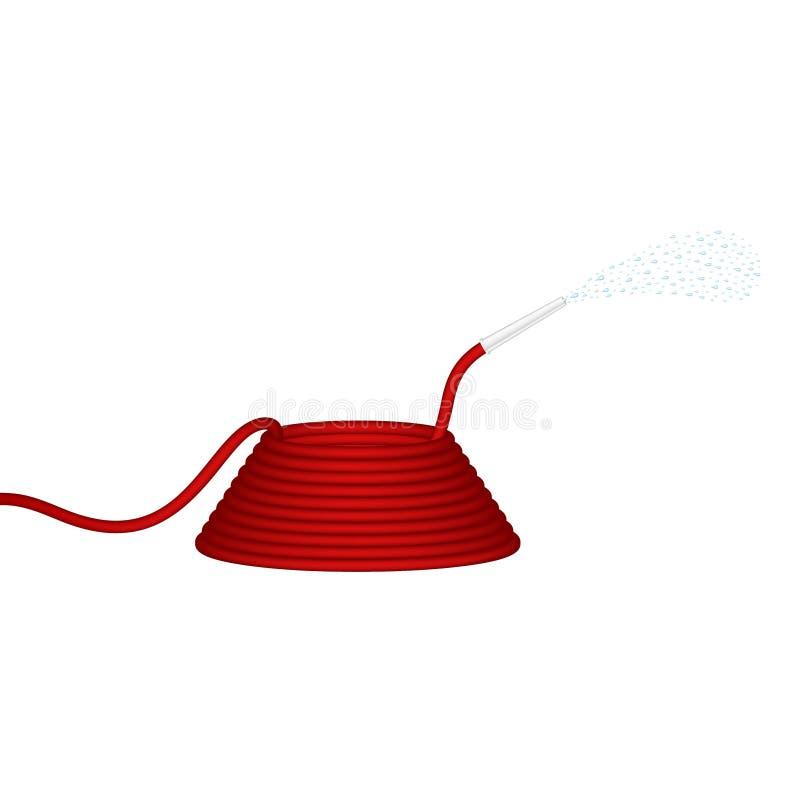 De tuinslang in rood ontwerp spuit water vector illustratie