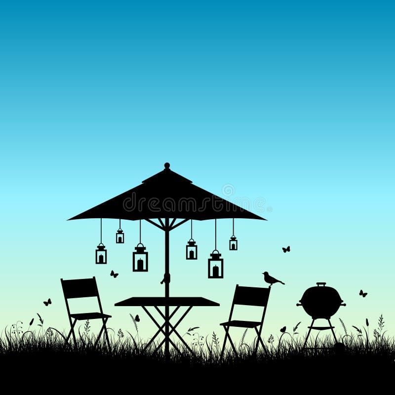 De Tuinzonsopgang van de silhouetzomer of Zonsondergangblauw stock illustratie