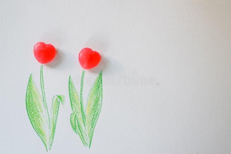 De tulpenachtergrond van het liefjesuikergoed voor presentatie van liefde, Valentijnskaarten, Huwelijk royalty-vrije stock afbeelding