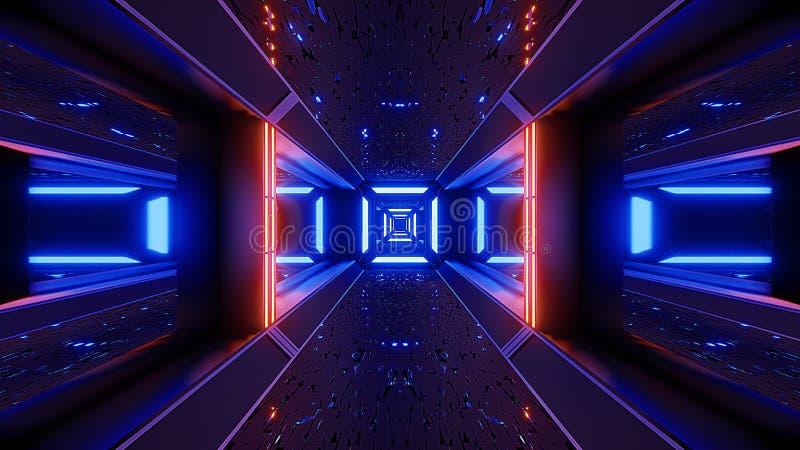 De tunnelbehang van Futuristicescifi het vreemde 3d teruggeven vector illustratie