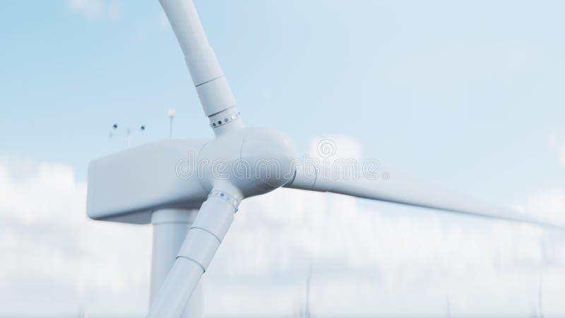 De turbine die van de close-upwind elektriciteit op blauwe hemelachtergrond produceren Schone energie, windenergie, ecologisch 3d royalty-vrije stock foto