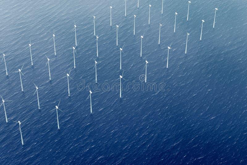 De turbine van de wind in het waterpark stock illustratie