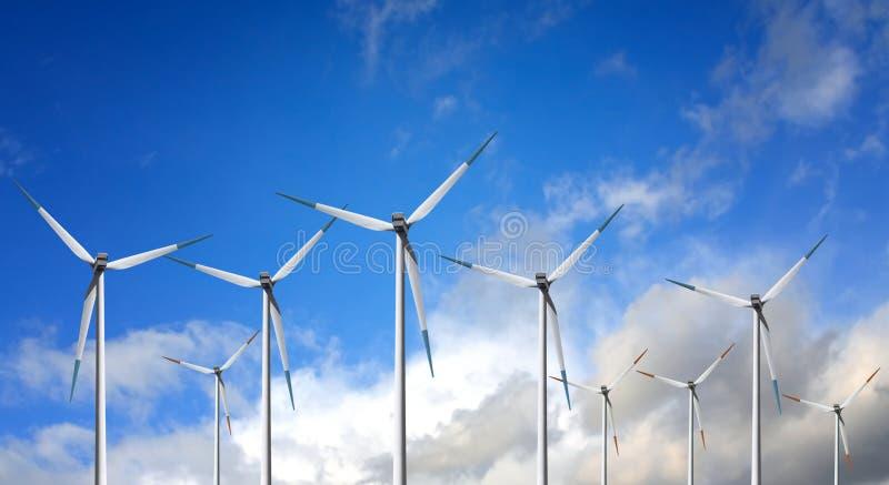 De Turbine van de wind op wolk royalty-vrije stock foto's