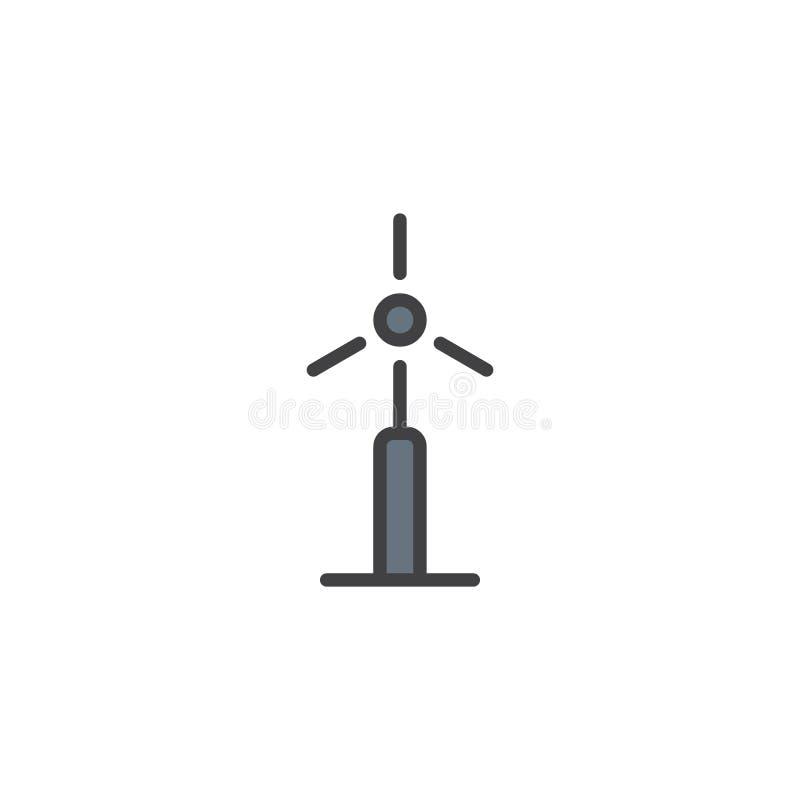 De turbine van de windenergie vulde overzichtspictogram stock illustratie