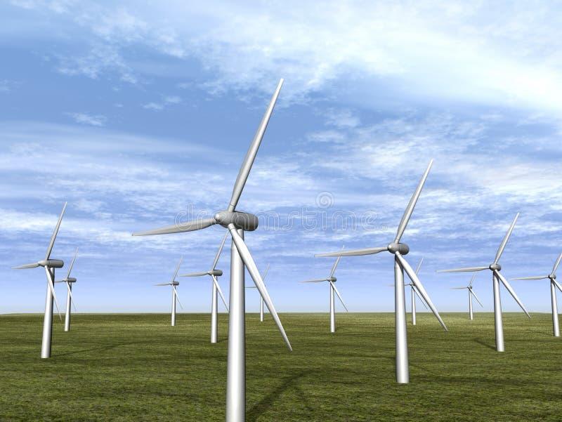 De turbinelandbouwbedrijf van de wind in weide stock illustratie