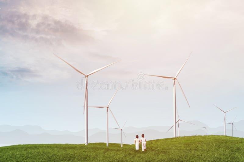 de turbinelandbouwbedrijf van de kinderenwind stock foto's