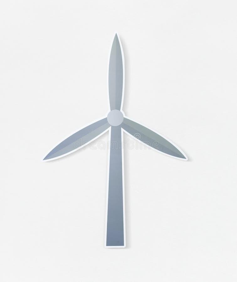 De turbinepictogram van de ecologiewind op geïsoleerd stock illustratie