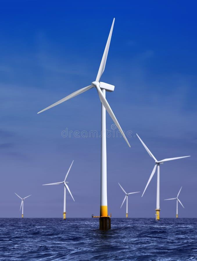 De turbines die van de wind elektriciteit produceren stock foto's
