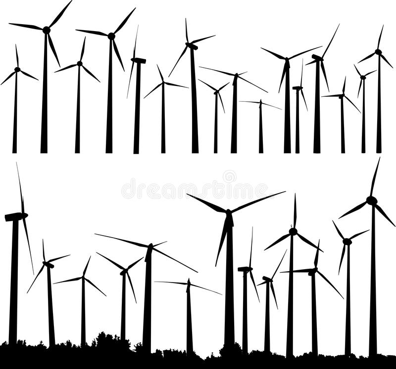 De turbines van de wind vector illustratie