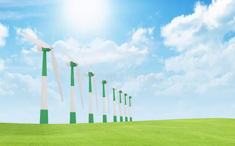 De turbines van de wind, geel gebied stock illustratie
