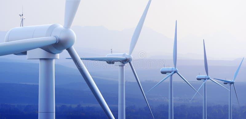 De Turbines van de wind met verre bergen royalty-vrije illustratie