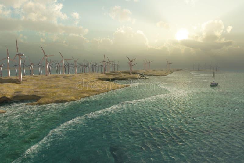 De Turbines van de wind op de zeekust royalty-vrije illustratie