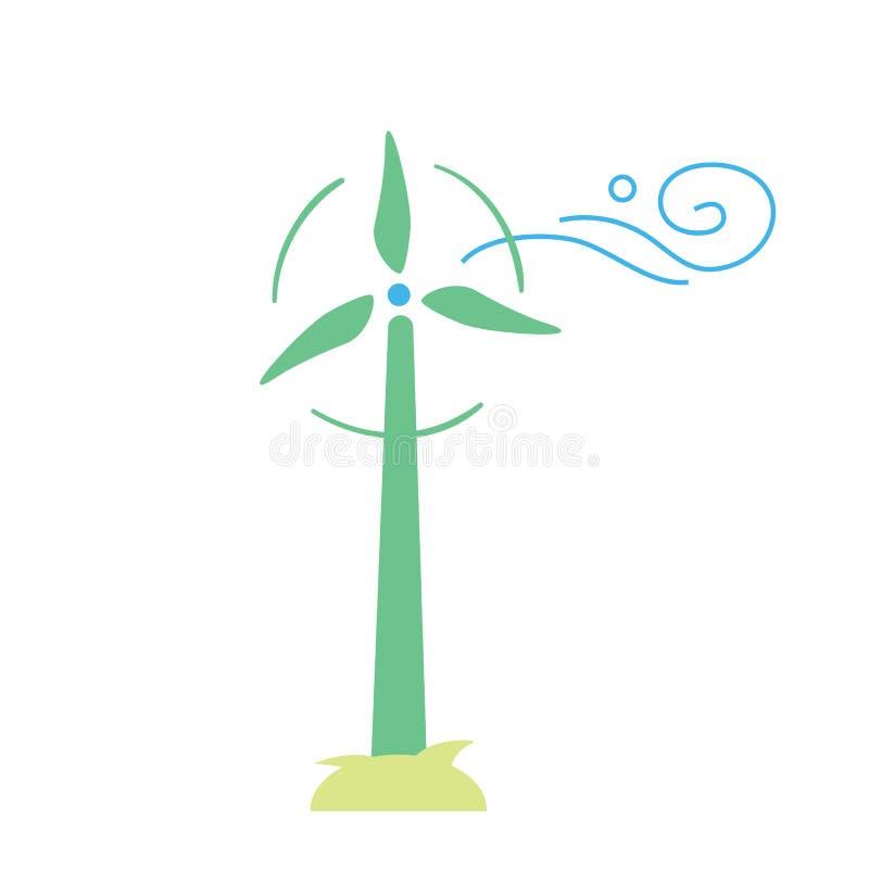 De turbines van de wind op groen gebied Het pictogram van Eco vector illustratie
