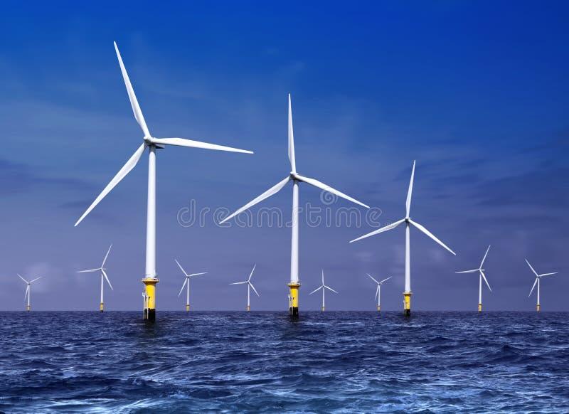 De turbines van de wind op overzees stock foto