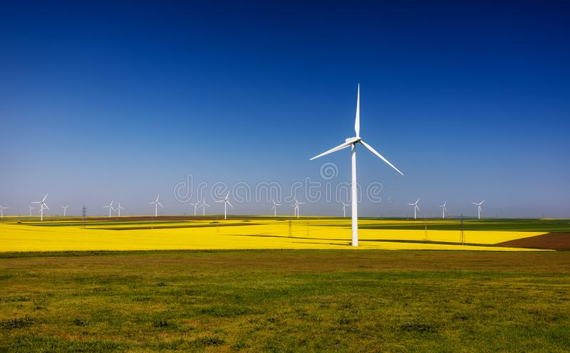 De turbines van de wind, geel gebied Gebieden met windmolens Het gebied van het raapzaad in bloei Vernieuwbare energie Bescherm h royalty-vrije stock foto's
