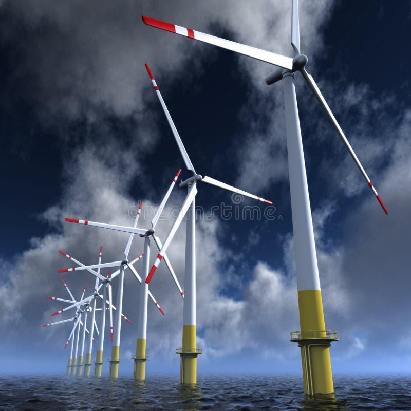 De turbineslandbouwbedrijf van de wind royalty-vrije illustratie