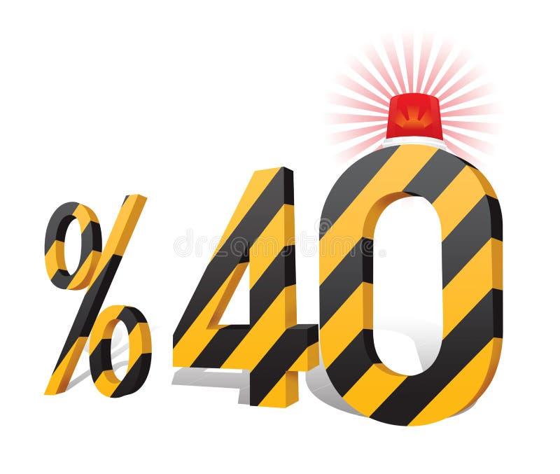 % 40 de turc de remise de pourcentage d'échelle Trente pour cent quarante illustration de vecteur