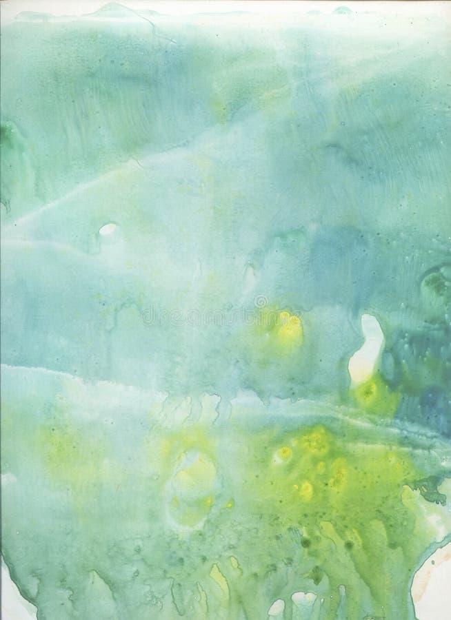 De turkooise abstracte hand getrokken achtergrond van de waterverfplons Het schilderen textuur stylefish Gradiëntkleuren Ijseffec stock illustratie