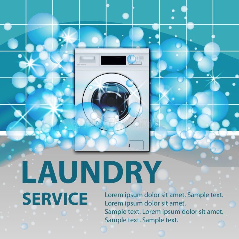 De de turkooise banner of affiche van de wasserijdienst Wasmachine voorlading op de lege achtergrond van de wasserijruimte met ze royalty-vrije illustratie