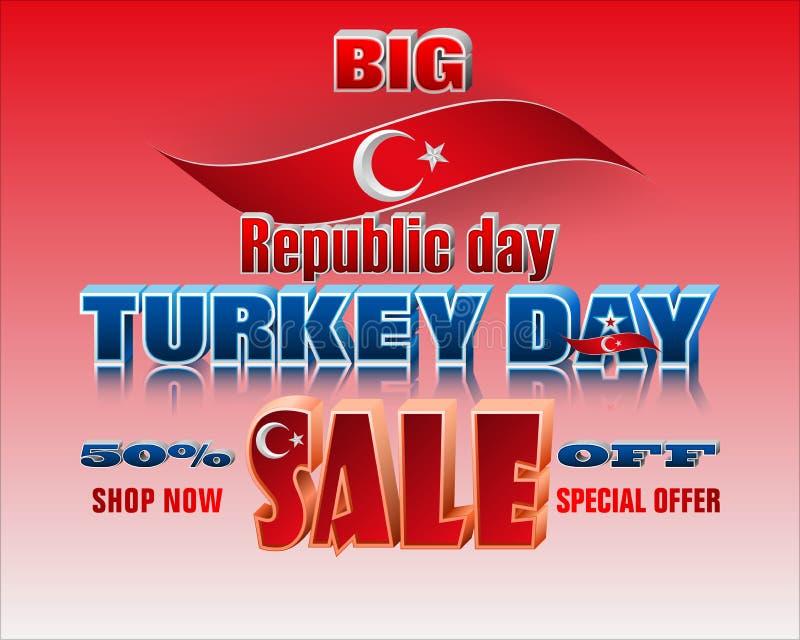 De Turkse dag van de Republiek, verkoop, commerciële gebeurtenis royalty-vrije illustratie