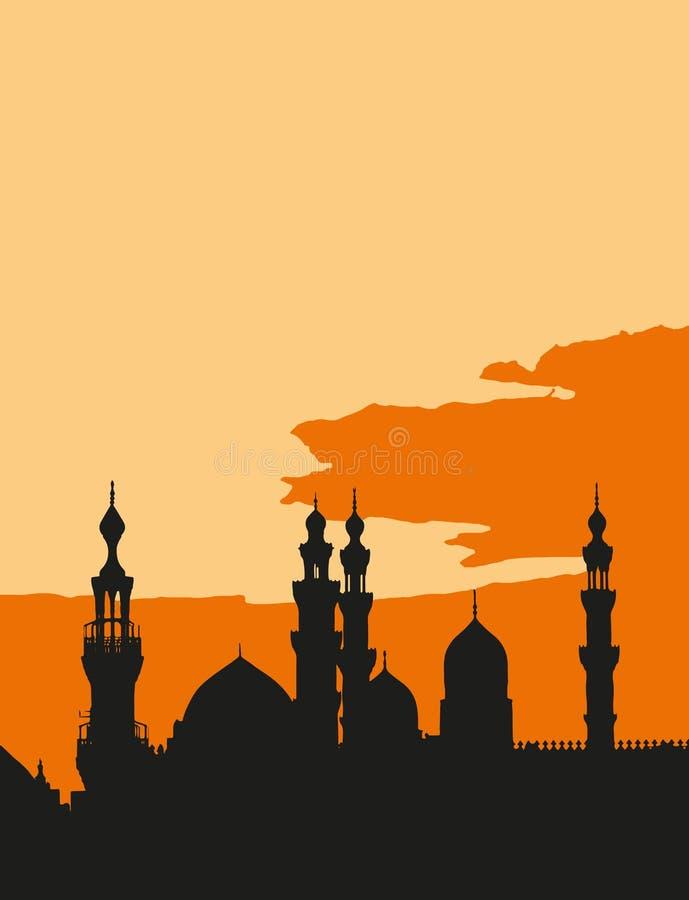 De två moskéerna al-Rifa'i och Sultan Hassan i Kairo Egypten på solnedgången vektor illustrationer