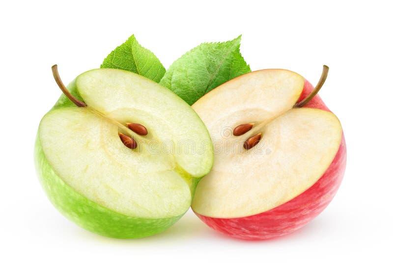 De twee appelhelften royalty-vrije stock afbeeldingen