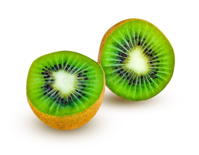 De twee die helften van kiwifruit op een wit worden geïsoleerd stock fotografie