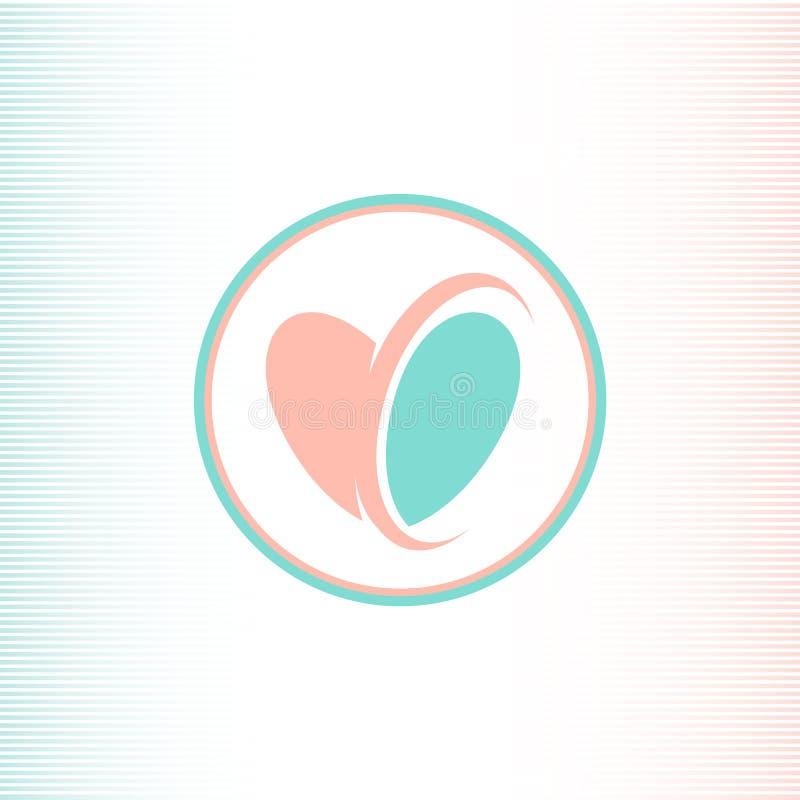 De twee helften van het hart logotype, roze en blauwe kleur, verenigden met hulp de halve cirkel Abstract vectorembleemmalplaatje stock illustratie