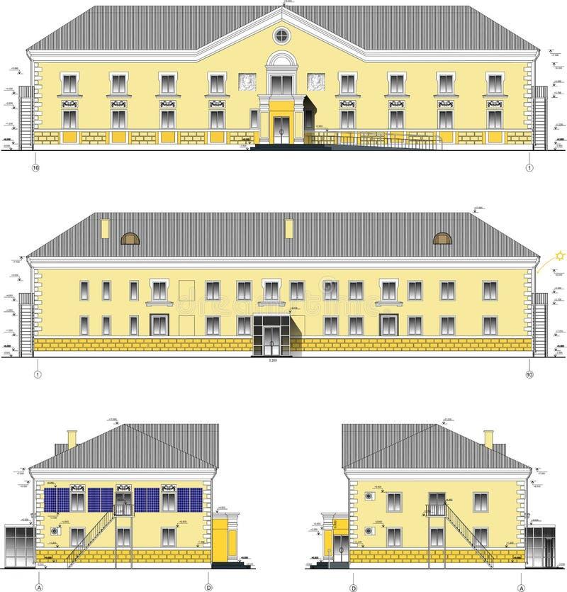 De twee-verhaal klassieke bouw in vector vector illustratie