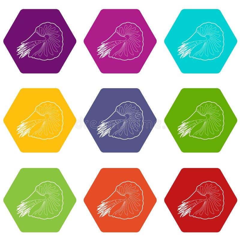 De tweekleppig schelpdierpictogrammen plaatsen 9 stock illustratie