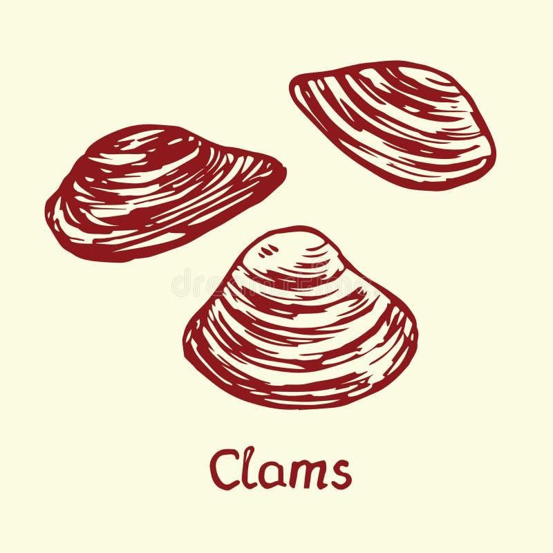 De tweekleppige schelpdieren, met inschrijving, overhandigen getrokken krabbel royalty-vrije illustratie