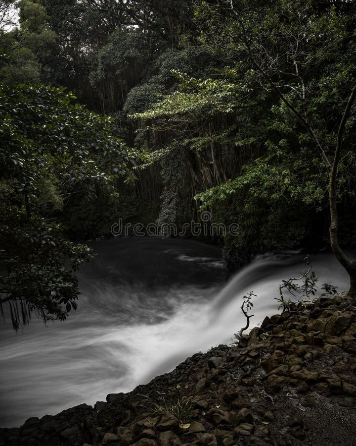 De tweeling valt Maui, Hawaï in zware stroom stock afbeeldingen