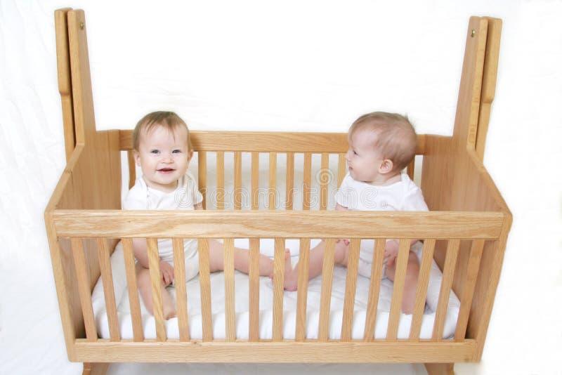 De Tweelingen van de baby in Voederbak royalty-vrije stock afbeeldingen