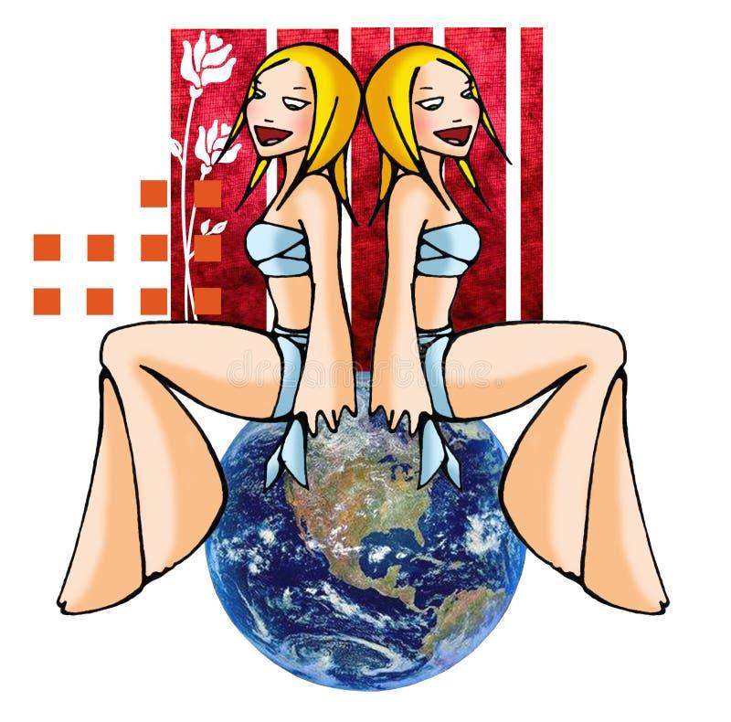 De tweelingen van de horoscoop met achtergrond vector illustratie