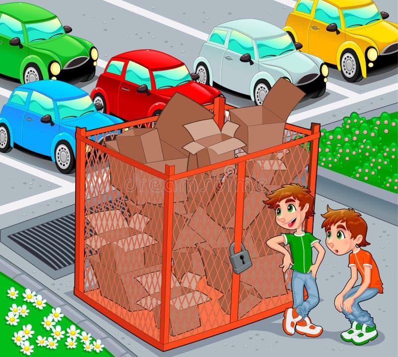 De tweelingen zijn dichtbij een recyclingskooi. royalty-vrije illustratie