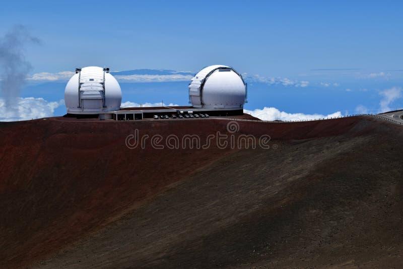 De tweelingkeck-telescopen op Mauna Kea, Hawaï royalty-vrije stock foto's