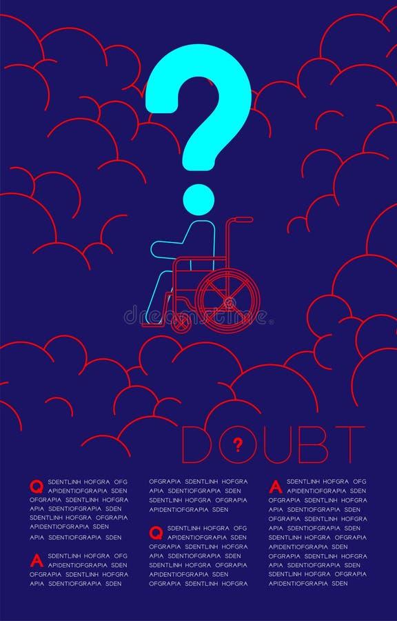 De twijfel maakte de mens met het pictogram blauwe en rode, Sociale kwesties van het Vraagtekenpictogram onbruikbaar: Verontreini stock illustratie