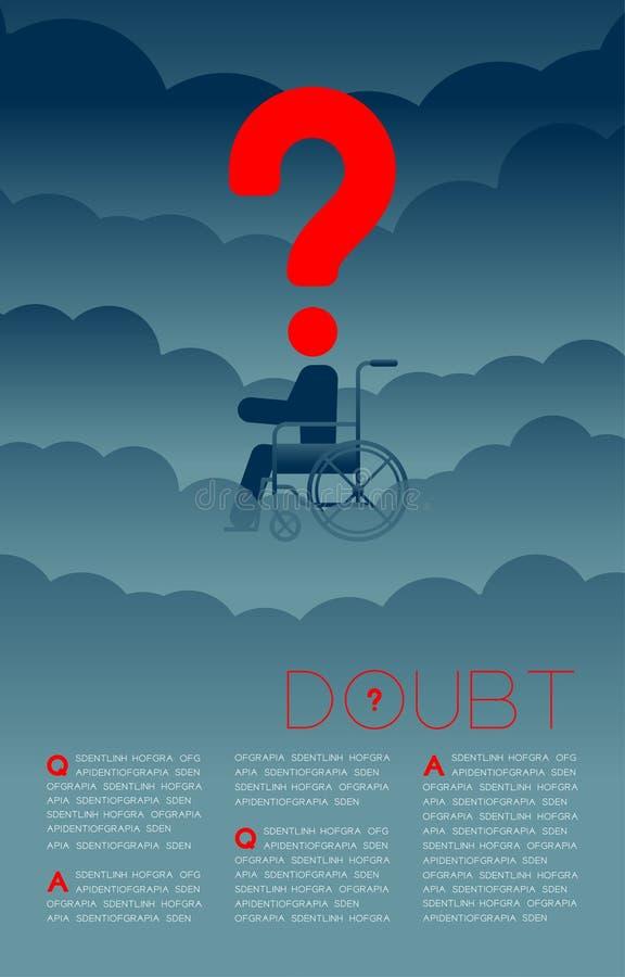 De twijfel maakte de mens met het pictogram blauwe en rode, Sociale kwesties van het Vraagtekenpictogram onbruikbaar: Verontreini royalty-vrije illustratie