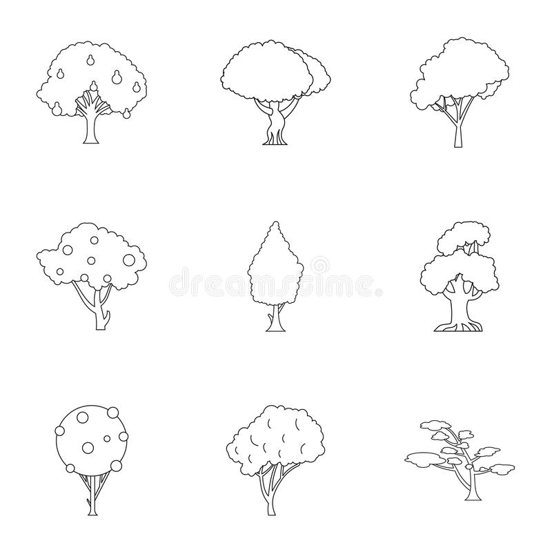 De types van geplaatste bomenpictogrammen, schetsen stijl royalty-vrije illustratie