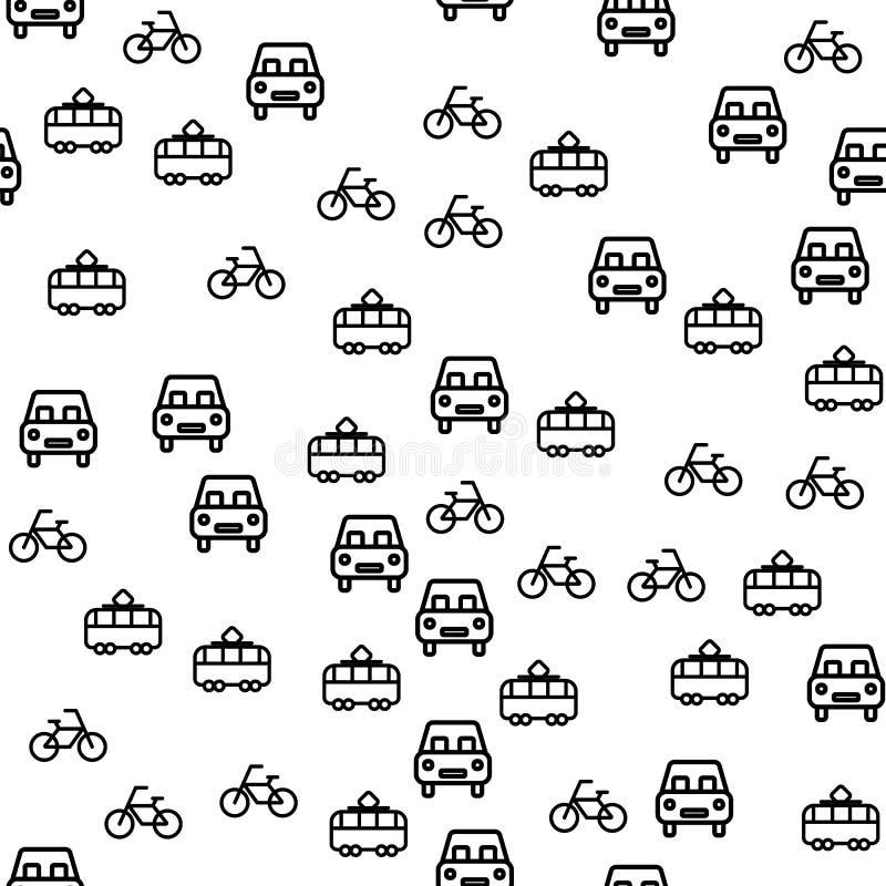 De types van Stad vervoeren Naadloze Patroonvector stock illustratie