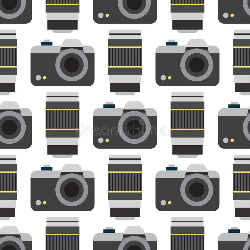 De types van de studio vlakke optische lenzen van de camerafoto vector objectieve retro de fotografieberoeps van het fotografiema royalty-vrije illustratie