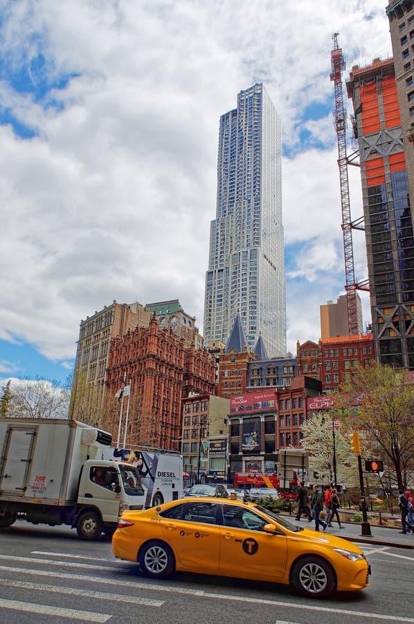 De typische mening van de de Stadsstraat van New York royalty-vrije stock foto