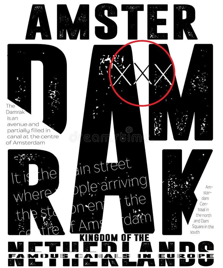 De typografie van atletieksportamsterdam, t-shirtgrafiek, vectoren royalty-vrije illustratie