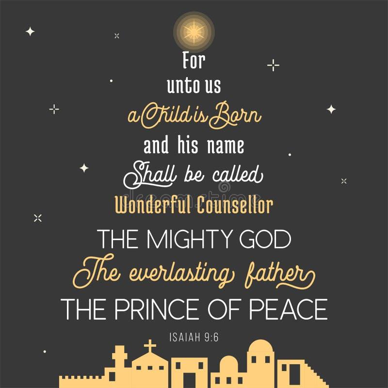 De typografie van bijbelvers van stelt voor Kerstmis te boek vector illustratie