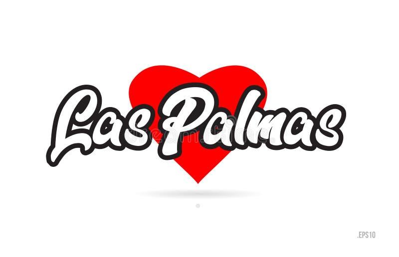 de typografie van het de stadsontwerp van Las Palmas met het rode embleem van het hartpictogram stock illustratie