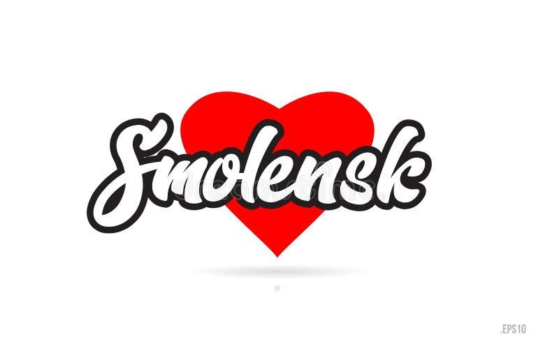 de typografie van het de stadsontwerp van Smolensk met het rode embleem van het hartpictogram vector illustratie