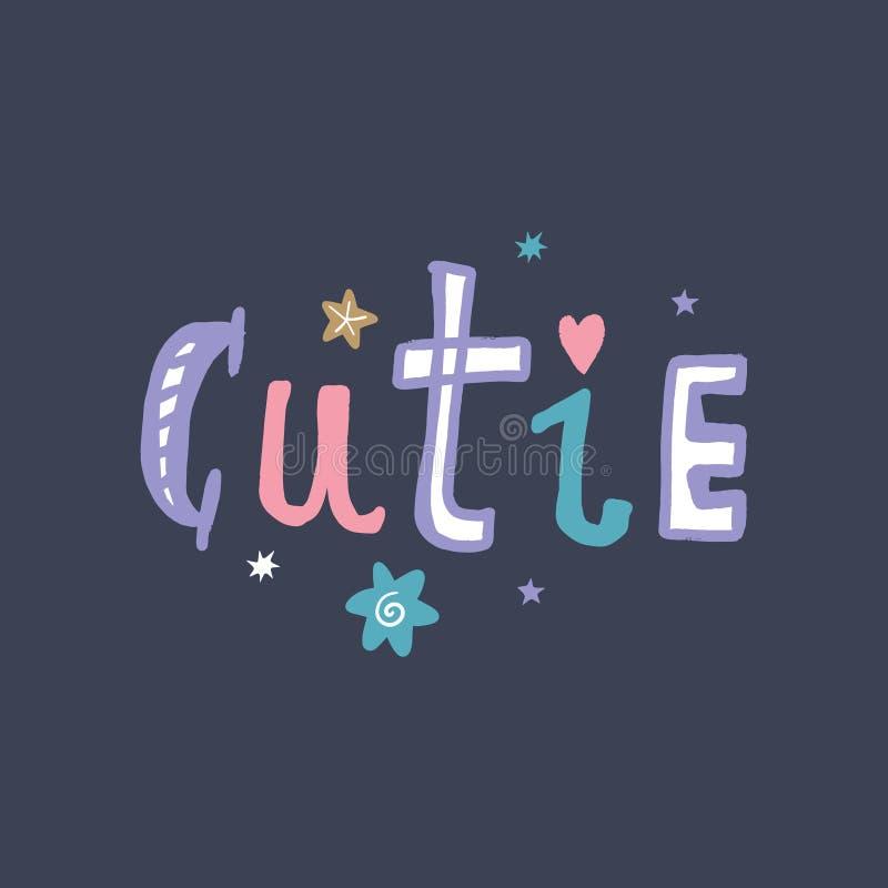 De typografie van letters voorziend bericht van de Cutietekst, kinderdagverblijfachtergrond of banner Vector art royalty-vrije illustratie