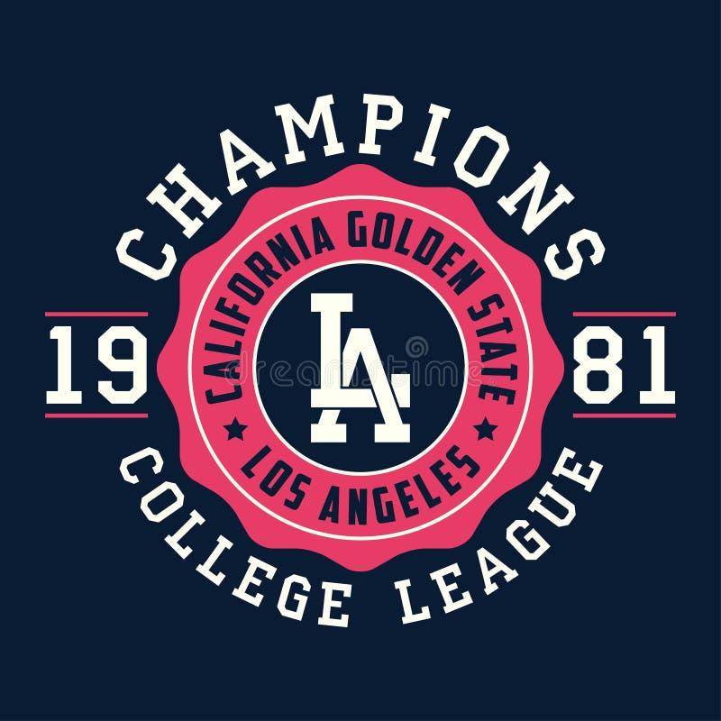 De typografie van Los Angeles, Californië voor ontwerpkleren Grafiek voor drukproduct, t-shirt, uitstekende sportkleding Vector vector illustratie