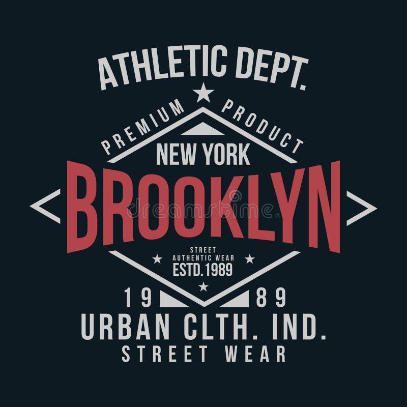 De typografie van New York, Brooklyn voor t-shirtdruk Uitstekend kenteken voor t-shirtdruk stock illustratie