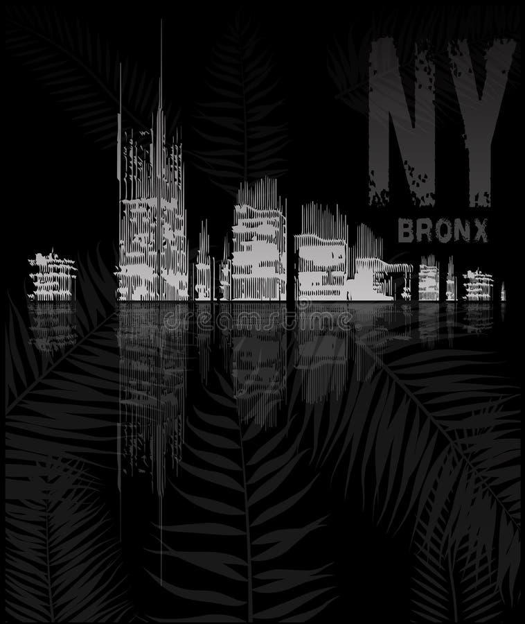 De typografie van New York met bloemenillustratie Grafische t-shirt royalty-vrije illustratie
